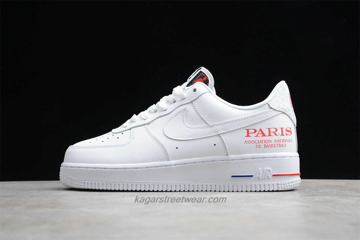 Chaussures 2020 Nike Air Force 1 07 LV8 NBA Paris Low CW2367 100 Blanc / Rouge