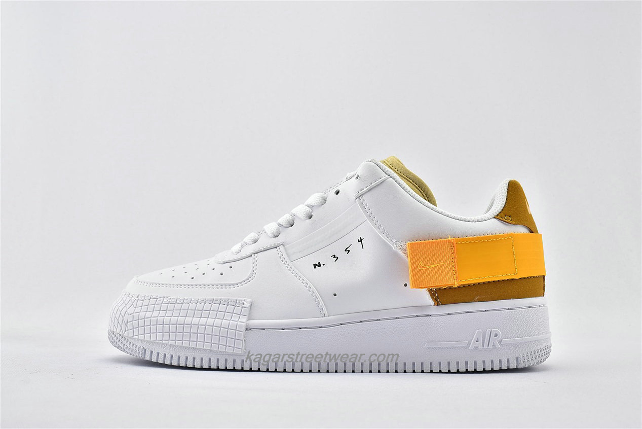 Chaussures Nike Air Force 1 AF1 TYPE Low AT7859 100 Blanc / Jaune / Marron