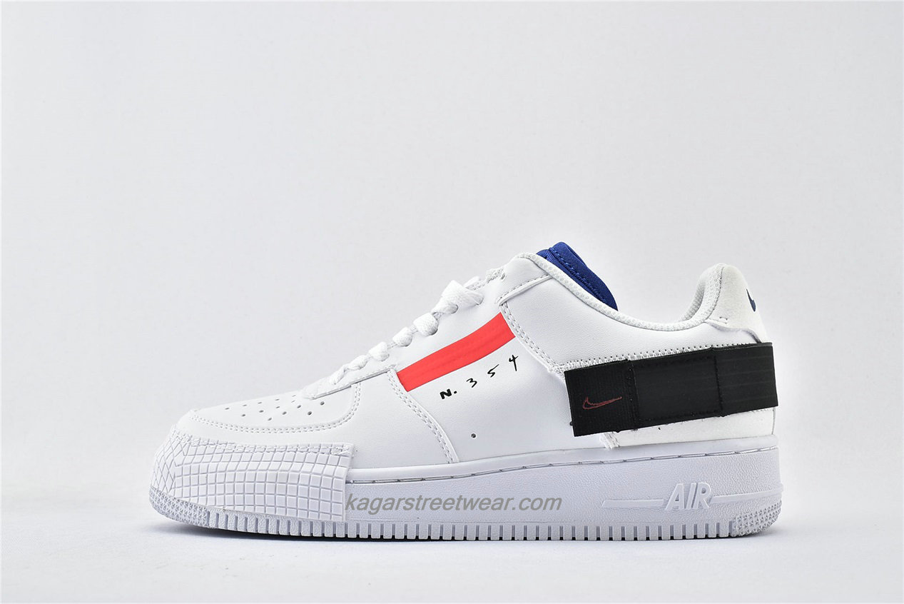 Chaussures Nike Air Force 1 AF1 TYPE Low BQ4793 100 Blanc / Rouge / Noir / Bleu