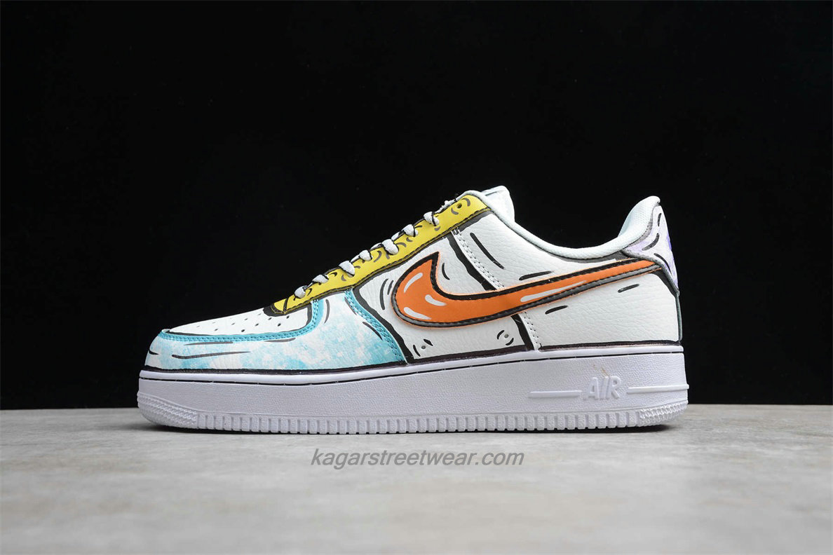 Chaussures Nike Air Force 1 Low 07 SE AO9822 001 Blanc / Verte / Jaune / Orange