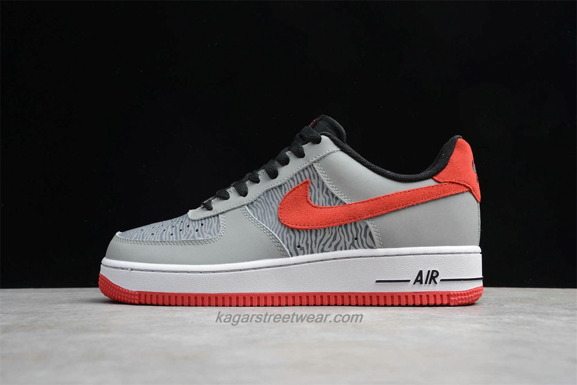 Chaussures Nike Air Force 1 Low 488298072 Hommes Gris / Noir / Rouge