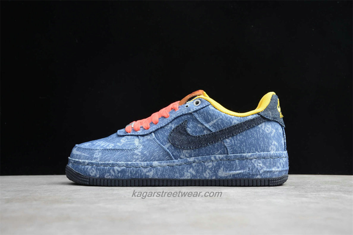 Chaussures Nike Air Force 1 Low LEVI'S CV0670 447 Bleu Jean / Jaune