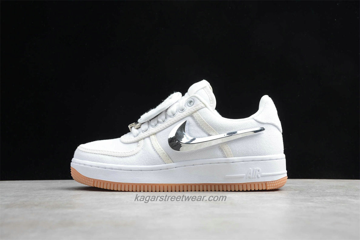 Chaussures Nike Air Force 1 Low TRAVIS SCOTT AQ4211 100 Blanc / Argent